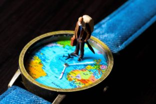 Old Man On Travel Watches. World Map Travel Photo Banner.